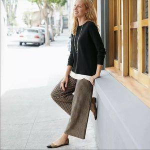J. Jill Ponte full-leg cropped pleated gingham SP